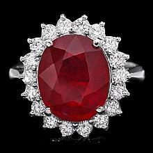 14k White Gold 6.15ct Ruby 0.80ct Diamond Ring