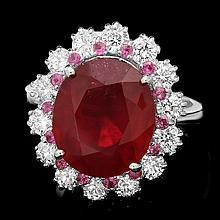 14k White Gold 8.00ct Ruby 1.30ct Diamond Ring