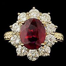 14k Yellow Gold 3.00ct Ruby 2.15ct Diamond Ring