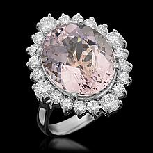 14k Gold 9.16ct Kunzite 1.35ct Diamond Ring
