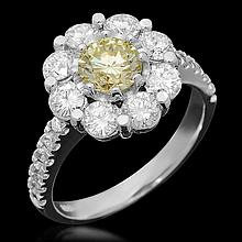 14K White Gold 0.80ct Fancy Color Diamond 2.72ct Diamond Ring