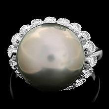 14k White Gold 14mm Pearl 0.70ct Diamond Ring