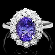 14k Gold 3.25ct Tanzanite 1.20ct Diamond Ring