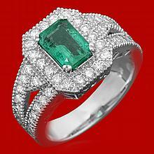 14k Gold 1.17ct Emerald 1.15ct Diamond Ring