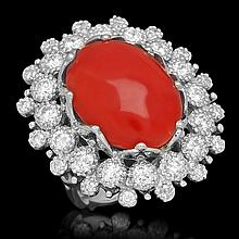 14K Gold 13.71ct Coral 2.58ct Diamond Ring