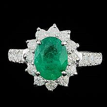 14k White Gold 1.70ct Emerald 0.90ct Diamond Ring