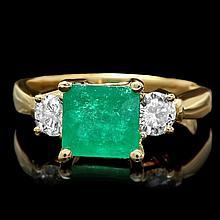 14k Gold 2.00ct Emerald 0.60ct Diamond Ring