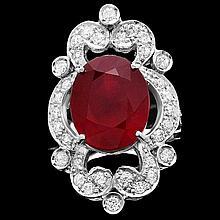 14k White Gold 11.00ct Ruby 1.35ct Diamond Ring