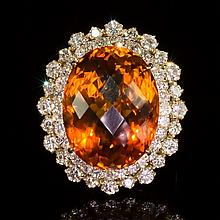 14K Gold 17.97ct Citrine 2.10ct Diamond Ring