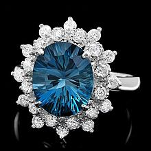 14k White Gold 4.00ct Topaz 0.70ct Diamond Ring