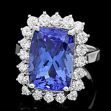 18k Gold 7.00ct Tanzanite 1.10ct Diamond Ring