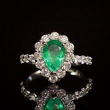 14K Gold 1.60ct Emerald 1.51ct Diamond Ring