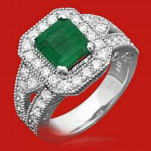 14k Gold 2.00ct Emerald 1.18ct Diamond Ring