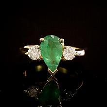 14 Gold 1.36ct Emerald 0.60ct Diamond Ring