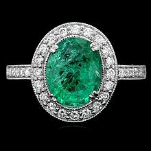 14k White Gold 2.00ct Emerald 0.50ct Diamond Ring