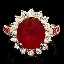 14k White Gold 6.75ct Ruby 0.80ct Diamond Ring