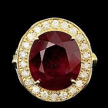 14k Yellow Gold 12.00ct Ruby 0.95ct Diamond Ring