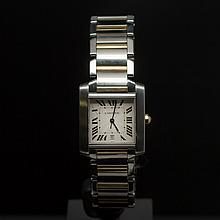Cartier Two-Tone Tank Francaise Men's Wristwatch