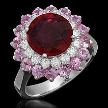 14K 2.78ct Ruby, 2.08ct Pink Sapphire, 0.61ct Diamond Ring