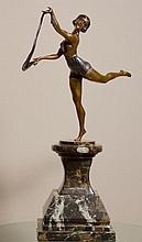 Lady Sculpture Bronze Brass Art Decor on Natural Marble