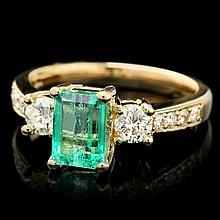 14k Gold 1.60ct Emerald 0.70ct Diamond Ring