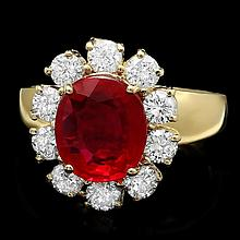 14k Yellow Gold 3.50ct Ruby 1.30ct Diamond Ring