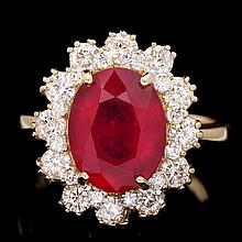 14k Yellow Gold 5.00ct Ruby 1.30ct Diamond Ring