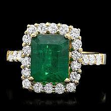 18k Yellow Gold 3.50ct Emerald 1ct Diamond Ring