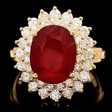 14k Yellow Gold 6.20ct Ruby 1.50ct Diamond Ring