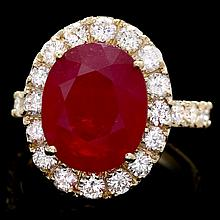 14k Yellow Gold 10.00ct Ruby 1.85ct Diamond Ring