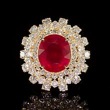 14K Gold 9.39ct Ruby 3.93ct Diamond Ring