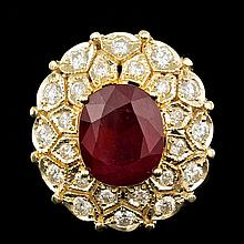 14k Yellow Gold 10.00ct Ruby 1.60ct Diamond Ring