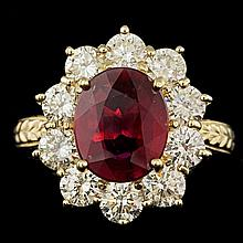 14k Yellow Gold 3.00ct Ruby 2.15ct Diamond Ring