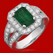 14k Gold 2.02ct Emerald 1.21ct Diamond Ring
