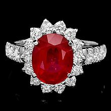 14k White Gold 4.00ct Ruby 1.00ct Diamond Ring