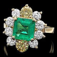 14k Yellow Gold 1.70ct Emerald 2.3ct Diamond Ring