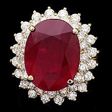 14k Yellow Gold 18.00ct Ruby 2.40ct Diamond Ring