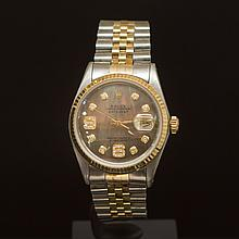 Rolex Two-Tone Datejust 36mm Brown Mother of Pearl Dial w/Diamonds on 9th & 6th Hour Wristwatch
