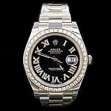 Rolex DateJust ll 41mm aprox. 4.5 cts. Diamond Bezel  0.5 cts. Diamond Dial Men's Wristwatch