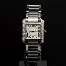 Cartier Large Tank Francaise Stainless Steel Custom 1ct Diamonds Men's Wristwatch