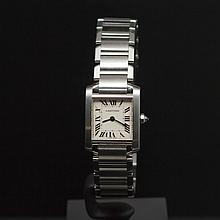 Cartier Small Tank Francaise Stainless Steel Women's Wristwatch