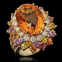 14K Gold 12.85ct Citrine, 4.32ct Fancy Color Sapphire & 1.45ct Diamond Ring