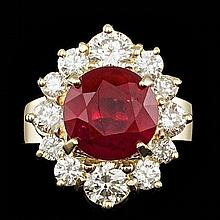 14k Yellow Gold 5.50ct Ruby 1.85ct Diamond Ring