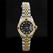 Rolex Two-Tone DateJust 26mm Diamond Dial & Bezel Aprox. 1.1 cts. (4) Sapphires Womens Wristwatch