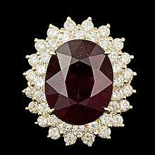 14k Yellow Gold 13.50ct Ruby 2.00ct Diamond Ring