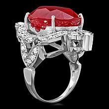 14k White Gold 22.00ct Ruby 1.30ct Diamond Ring