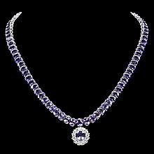 14k W Gold 76ct Tanzanite 1.70ct Diamond Necklace