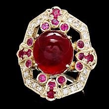 14k Yellow Gold 13ct Ruby 0.50ct Diamond Ring