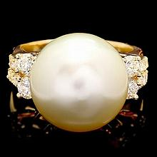 14k Yellow Gold 14mm Pearl 0.75ct Diamond Ring