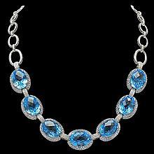 18K Gold 130.54ct Topaz 11.89ct Sapphire 0.70ct Diamond Necklace